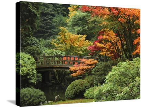 Moon Bridge in Autumn: Portland Japanese Garden, Portland, Oregon, USA-Michel Hersen-Stretched Canvas Print