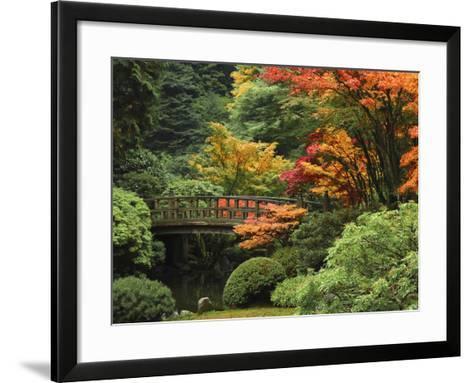Moon Bridge in Autumn: Portland Japanese Garden, Portland, Oregon, USA-Michel Hersen-Framed Art Print