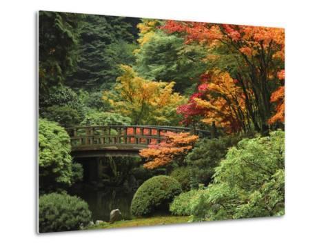 Moon Bridge in Autumn: Portland Japanese Garden, Portland, Oregon, USA-Michel Hersen-Metal Print