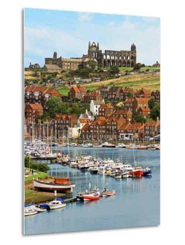 Ruins of Whitby Abbey Above Whitby on North Yorkshire Coast in Northern England, United Kingdom-Miva Stock-Metal Print