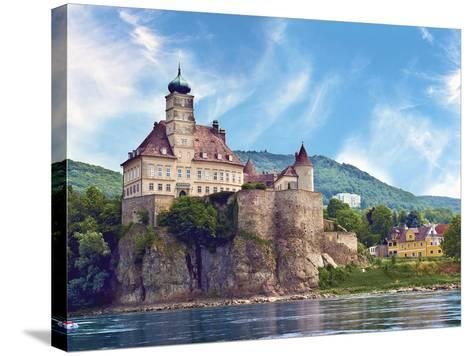 The Stunning Schonbuhel Castle Sits Above the Danube River Along the Wachau Valley of Austria-Miva Stock-Stretched Canvas Print