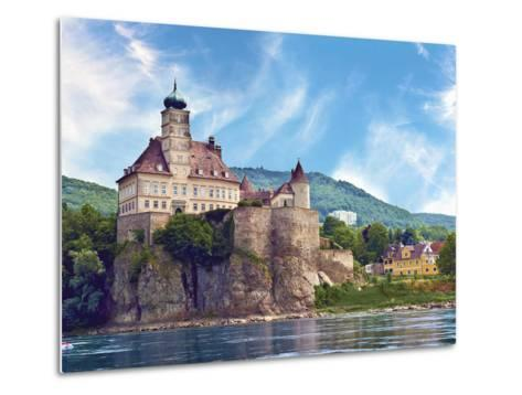 The Stunning Schonbuhel Castle Sits Above the Danube River Along the Wachau Valley of Austria-Miva Stock-Metal Print