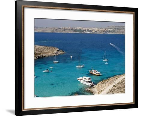 Blue Lagoon, Aerial View, Comino Island, Republic of Malta-Nico Tondini-Framed Art Print