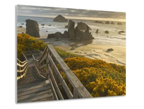 A Stairway Leads to the Beach in Bandon, Oregon, USA-William Sutton-Metal Print