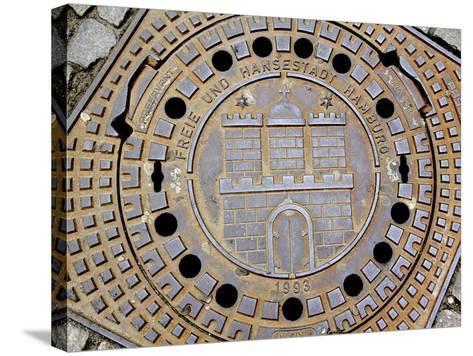 Manhole Cover with Hamburg's Coat of Arms, Hamburg, Germany-Miva Stock-Stretched Canvas Print