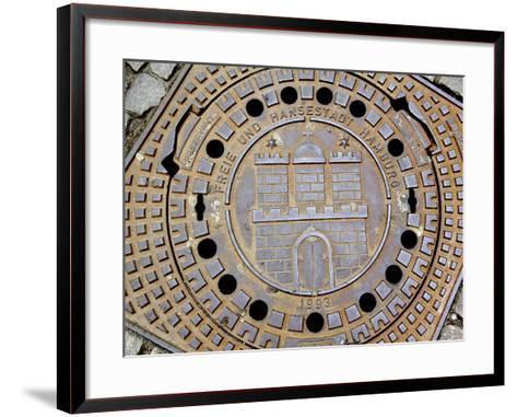 Manhole Cover with Hamburg's Coat of Arms, Hamburg, Germany-Miva Stock-Framed Art Print