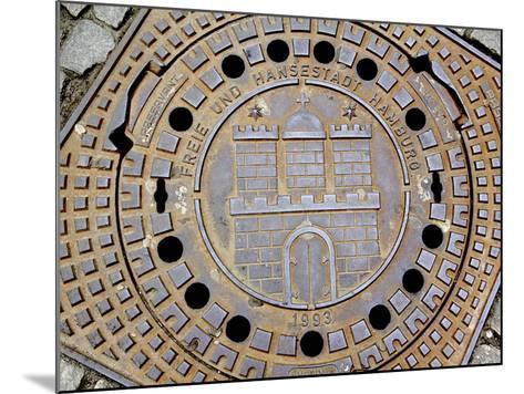 Manhole Cover with Hamburg's Coat of Arms, Hamburg, Germany-Miva Stock-Mounted Photographic Print