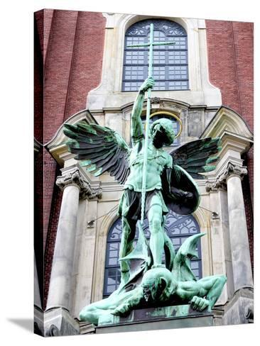 Sculpture of the Archangel Michael Defeating Satan, St Michael's Church, Hamburg, Germany-Miva Stock-Stretched Canvas Print
