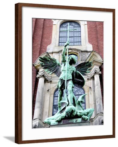 Sculpture of the Archangel Michael Defeating Satan, St Michael's Church, Hamburg, Germany-Miva Stock-Framed Art Print