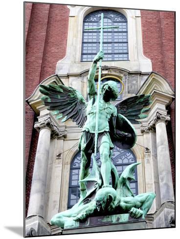 Sculpture of the Archangel Michael Defeating Satan, St Michael's Church, Hamburg, Germany-Miva Stock-Mounted Photographic Print