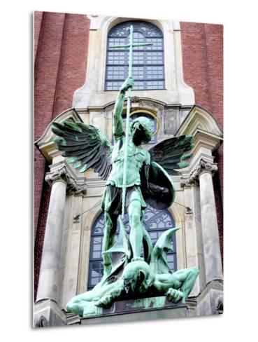Sculpture of the Archangel Michael Defeating Satan, St Michael's Church, Hamburg, Germany-Miva Stock-Metal Print
