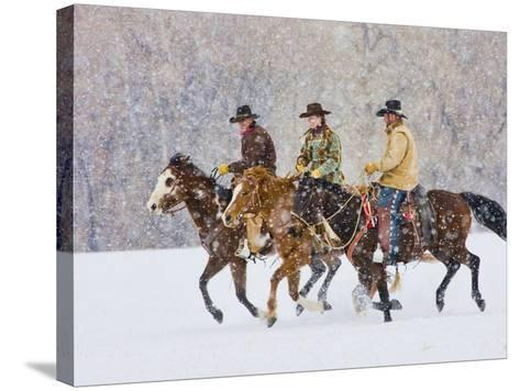 Cowboy Riding Horse, Shell, Wyoming, USA-Terry Eggers-Stretched Canvas Print