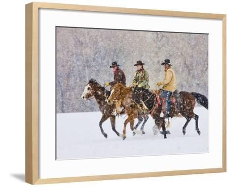 Cowboy Riding Horse, Shell, Wyoming, USA-Terry Eggers-Framed Art Print