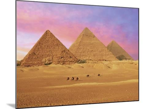 Pyramids at Sunset, Giza, Cairo, Egypt-Miva Stock-Mounted Photographic Print
