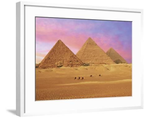 Pyramids at Sunset, Giza, Cairo, Egypt-Miva Stock-Framed Art Print