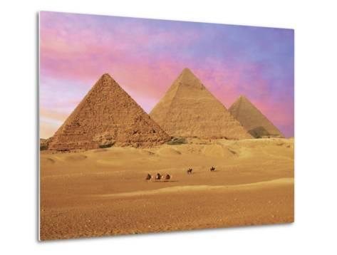 Pyramids at Sunset, Giza, Cairo, Egypt-Miva Stock-Metal Print