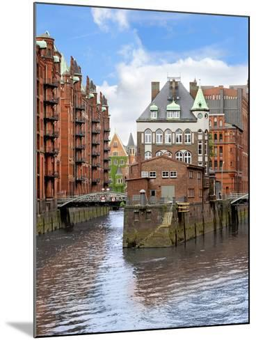 Waterfront Warehouses and Lofts in the Speicherstadt Warehouse District of Hamburg, Germany,-Miva Stock-Mounted Photographic Print
