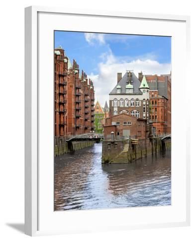 Waterfront Warehouses and Lofts in the Speicherstadt Warehouse District of Hamburg, Germany,-Miva Stock-Framed Art Print
