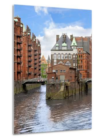 Waterfront Warehouses and Lofts in the Speicherstadt Warehouse District of Hamburg, Germany,-Miva Stock-Metal Print