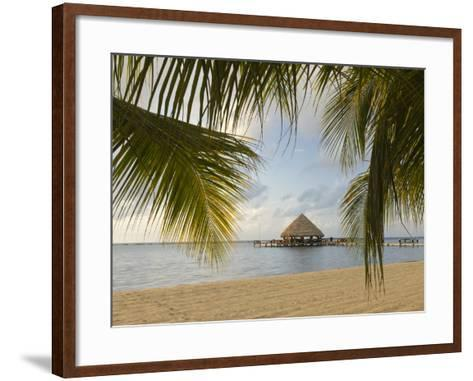 A Palapa and Sandy Beach, Placencia, Belize-William Sutton-Framed Art Print