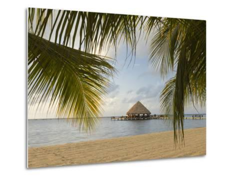 A Palapa and Sandy Beach, Placencia, Belize-William Sutton-Metal Print