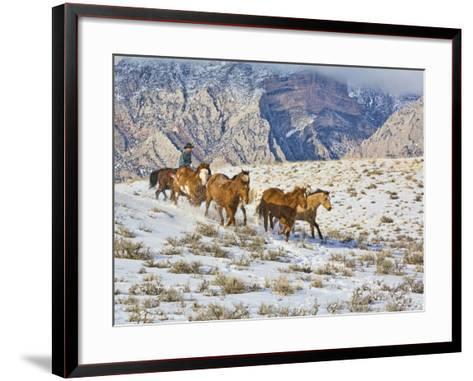 Horse Drive, Shell, Wyoming, USA-Terry Eggers-Framed Art Print