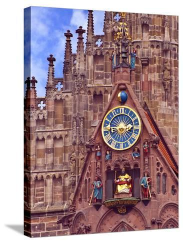 Clock Tower of Church of Our Lady, Nuremberg, Germany-Miva Stock-Stretched Canvas Print