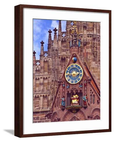 Clock Tower of Church of Our Lady, Nuremberg, Germany-Miva Stock-Framed Art Print