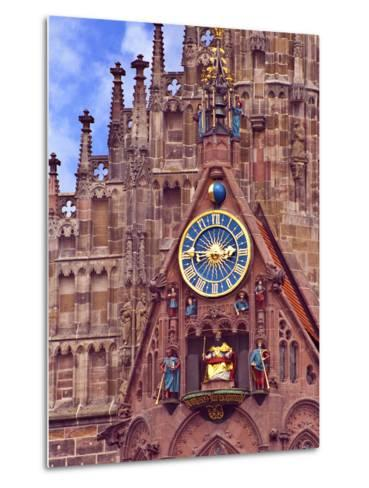 Clock Tower of Church of Our Lady, Nuremberg, Germany-Miva Stock-Metal Print