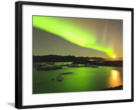 Aurora Borealis and Moon over Icebergs, Jokulsarlon and Breidamerkurjokull, Iceland-Tom Norring-Framed Art Print