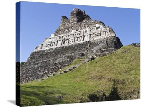 Hieroglyphs on Wall Facade of El Castillo Pyramid, Xunantunich Ancient Site, Cayo District, Belize-William Sutton-Stretched Canvas Print