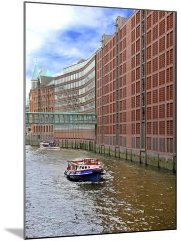 Boats Pass by Waterfront Warehouses and Lofts, Speicherstadt Warehouse District, Hamburg, Germany-Miva Stock-Mounted Photographic Print