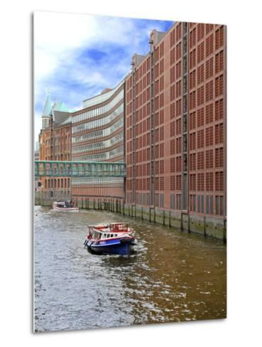 Boats Pass by Waterfront Warehouses and Lofts, Speicherstadt Warehouse District, Hamburg, Germany-Miva Stock-Metal Print