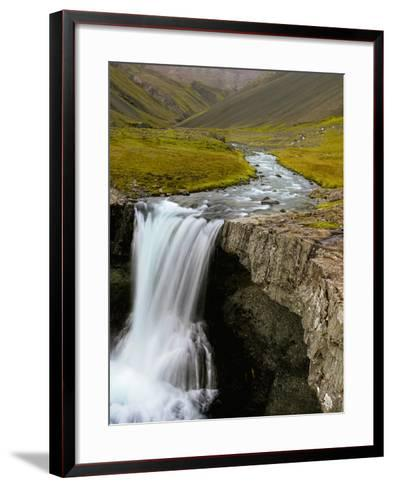 Water Running from Glacier and Waterfall, Iceland-Tom Norring-Framed Art Print
