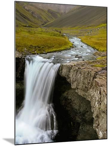 Water Running from Glacier and Waterfall, Iceland-Tom Norring-Mounted Photographic Print