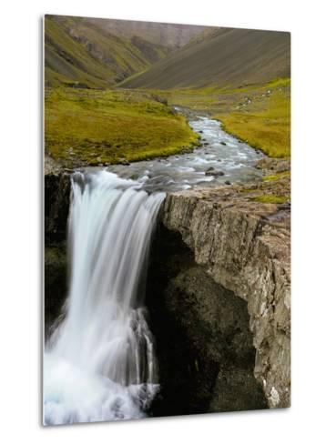 Water Running from Glacier and Waterfall, Iceland-Tom Norring-Metal Print