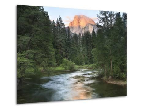 Half Dome with Sunset over Merced River, Yosemite, California, USA-Tom Norring-Metal Print