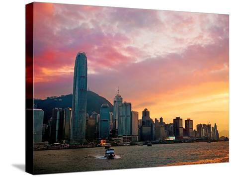 Victoria Peak as Seen from a Boat in Victoria Harbor, Hong Kong, China-Miva Stock-Stretched Canvas Print