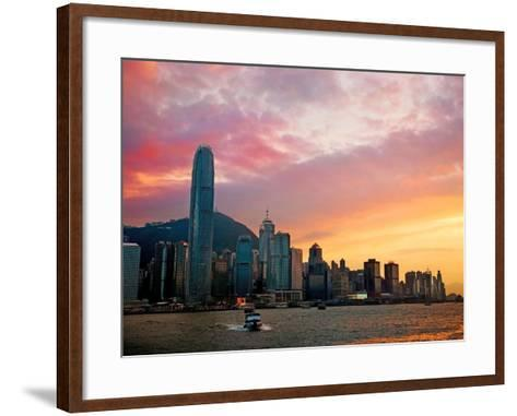 Victoria Peak as Seen from a Boat in Victoria Harbor, Hong Kong, China-Miva Stock-Framed Art Print