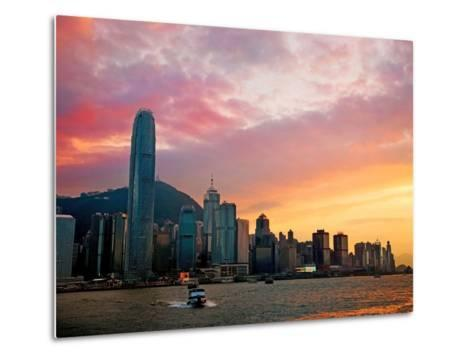 Victoria Peak as Seen from a Boat in Victoria Harbor, Hong Kong, China-Miva Stock-Metal Print