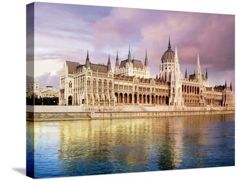 Parliament Building and Danube River, Budapest, Hungary-Miva Stock-Stretched Canvas Print