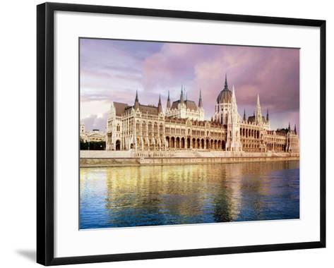 Parliament Building and Danube River, Budapest, Hungary-Miva Stock-Framed Art Print