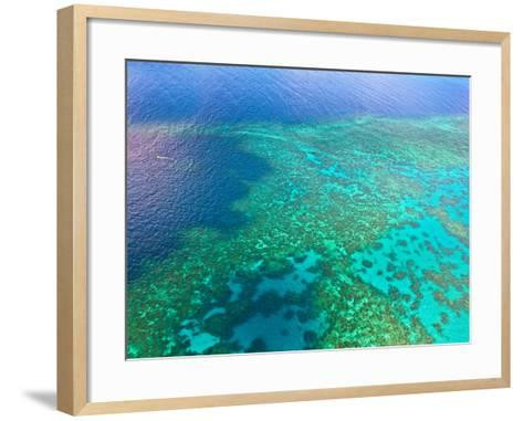 Aerial View of the Great Barrier Reef, Queensland, Australia-Miva Stock-Framed Art Print