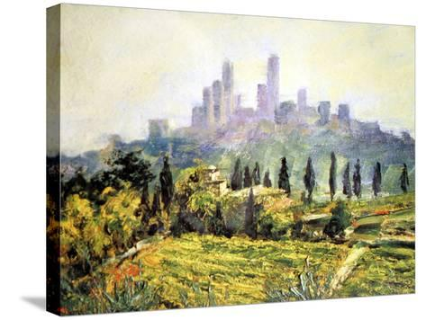 Impressionistic Painting, San Gimignano, Italy-Miva Stock-Stretched Canvas Print