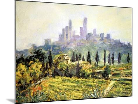 Impressionistic Painting, San Gimignano, Italy-Miva Stock-Mounted Photographic Print