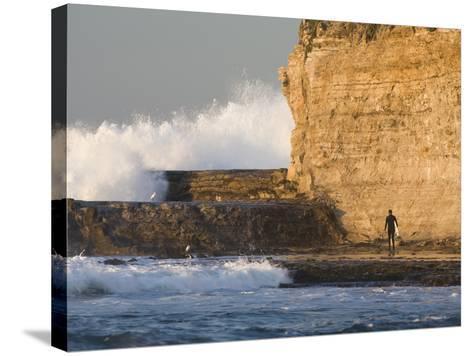 Surfer Sizing Up the Challenge, Santa Cruz Coast, California, USA-Tom Norring-Stretched Canvas Print