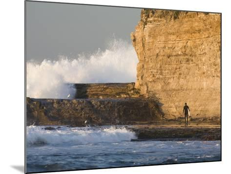 Surfer Sizing Up the Challenge, Santa Cruz Coast, California, USA-Tom Norring-Mounted Photographic Print