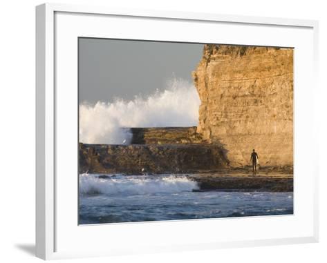 Surfer Sizing Up the Challenge, Santa Cruz Coast, California, USA-Tom Norring-Framed Art Print