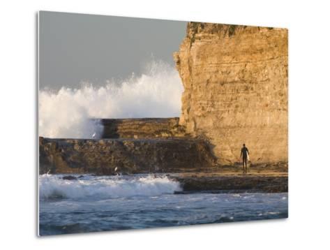 Surfer Sizing Up the Challenge, Santa Cruz Coast, California, USA-Tom Norring-Metal Print