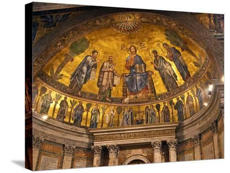 Detail of Apse Mosaic with Portraits of Popes, Basilica Di San Paolo Fuori Le Mura, Rome, Italy-Miva Stock-Stretched Canvas Print